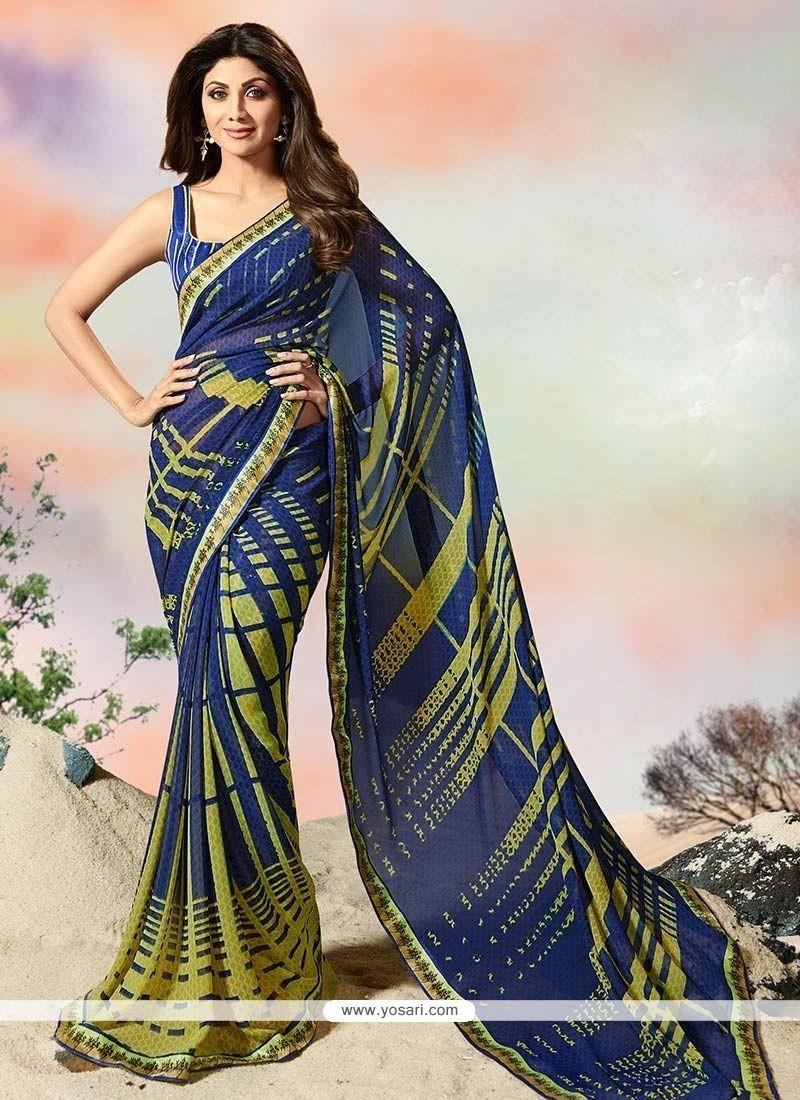 8d42b81c85 Buy Shilpa Shetty Print Work Printed Saree | Casual Sarees