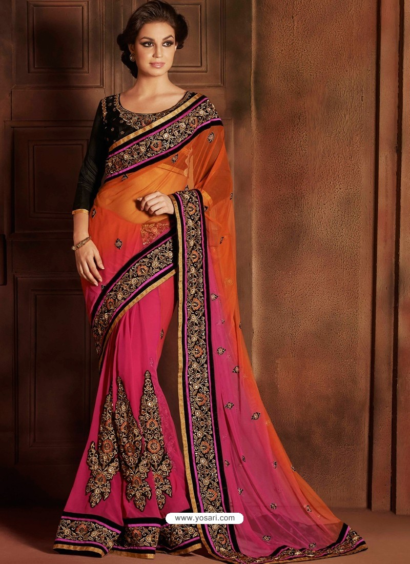 Black And Pink Bemberg Saree