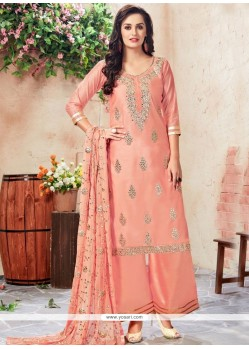 Chanderi Peach Resham Work Designer Palazzo Suit