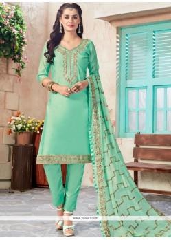 Sea Green Embroidered Work Chanderi Churidar Designer Suit