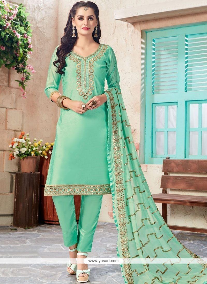 Buy Sea Green Embroidered Work Chanderi Churidar Designer Suit ...