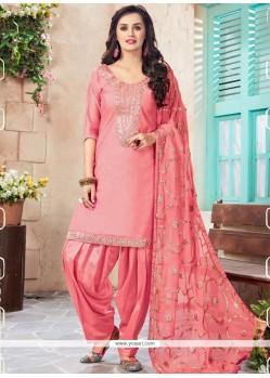 Resham Work Pink Chanderi Punjabi Suit