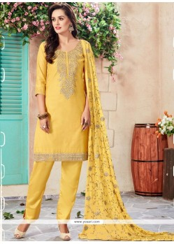 Chanderi Yellow Designer Suit
