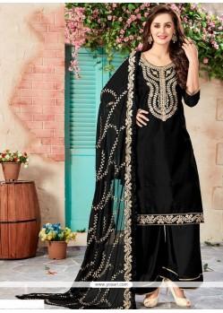 Resham Work Black Chanderi Designer Palazzo Suit