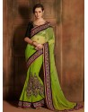Green And Black Bemberg Saree
