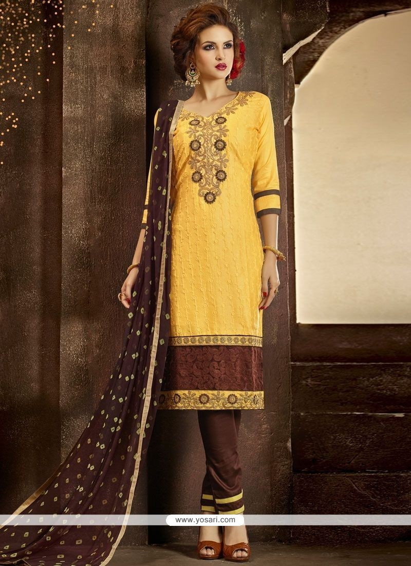 3a6286a800 Buy Embroidered Work Yellow Pant Style Suit | Designer Salwar Suits