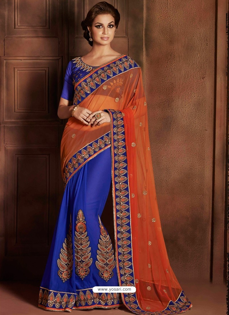 Blue Satin Designer Saree
