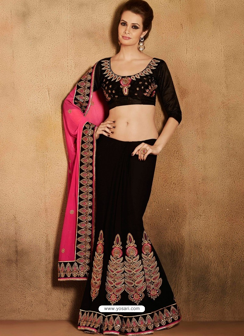 Black Satin Designer Saree