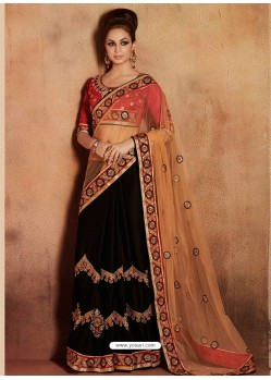 Black And Cream Satin Designer Saree