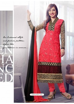Black And Pink Georgette Churidar Suit