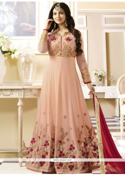 Ayesha Takia Embroidered Work Pink Faux Georgette Floor Length Anarkali Suit