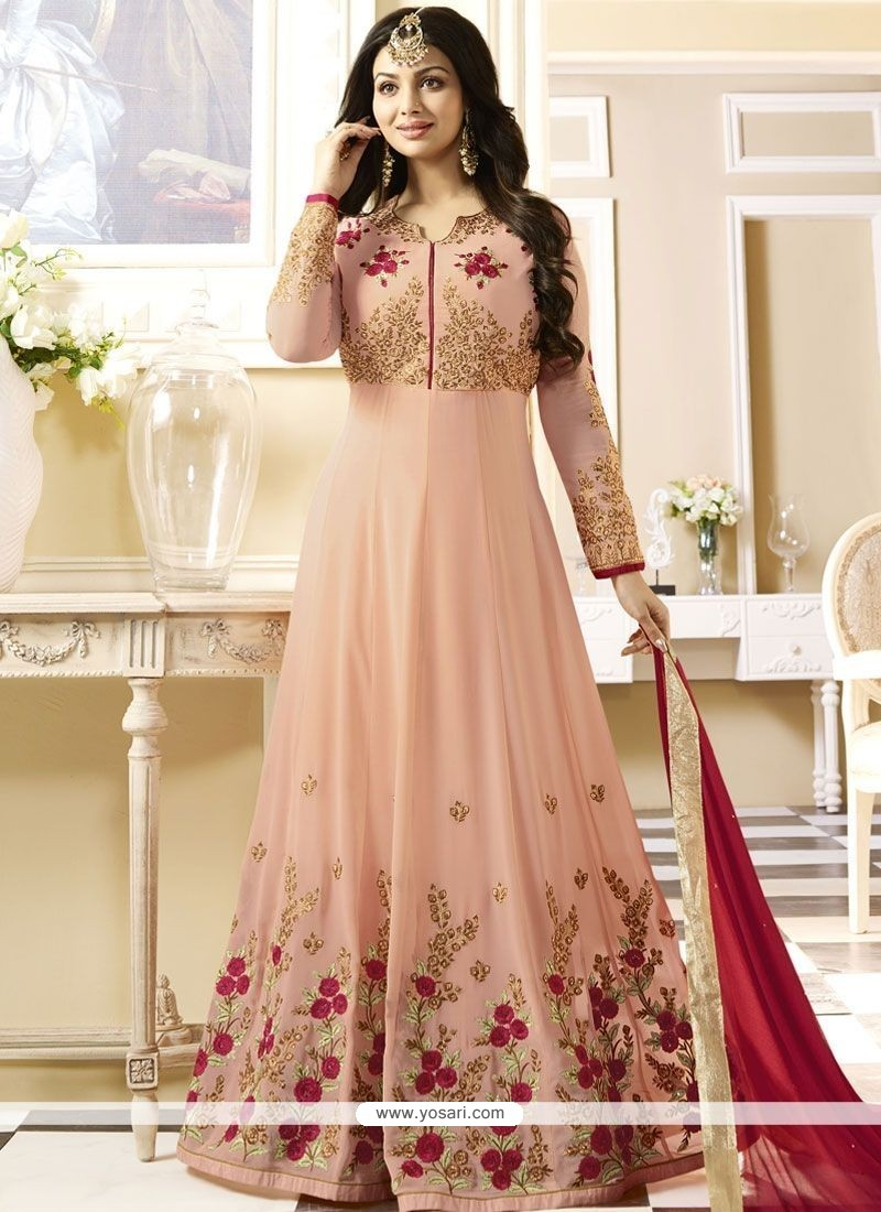 d206a8c668 Ayesha Takia Embroidered Work Pink Faux Georgette Floor Length Anarkali Suit