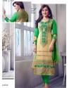 Green Georgette Churidar Suit