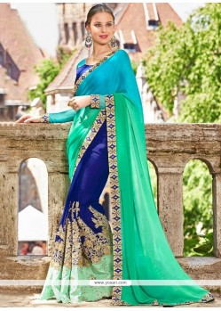 Navy Blue And Sea Green Designer Half N Half Saree