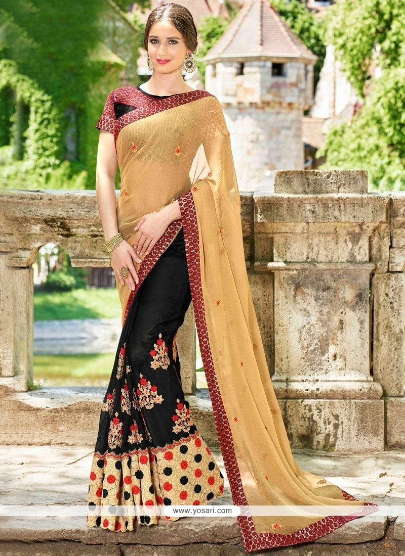 43d8588a8d Faux Georgette Beige And Black Embroidered Work Half N Half Designer Saree