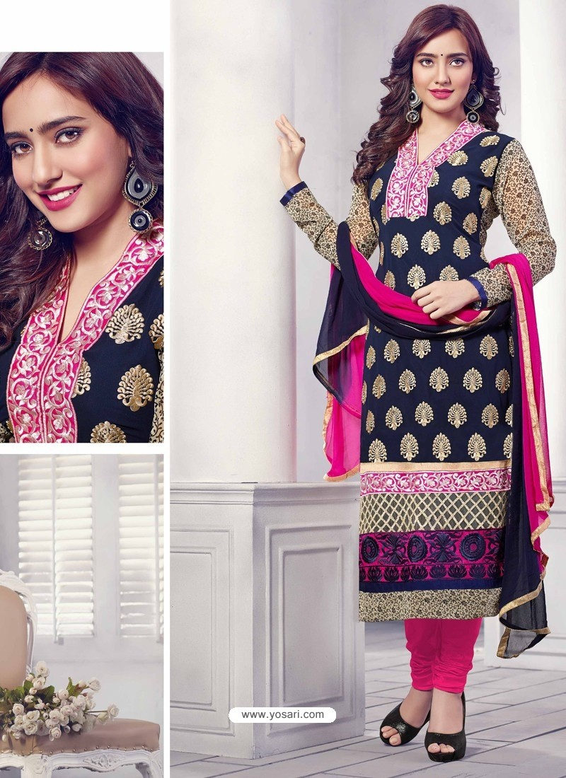 Navy Blue Georgette Churidar Suit
