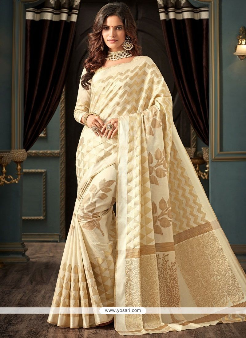 94ff693fc3ee2 Buy Weaving Work Off White Art Silk Traditional Saree