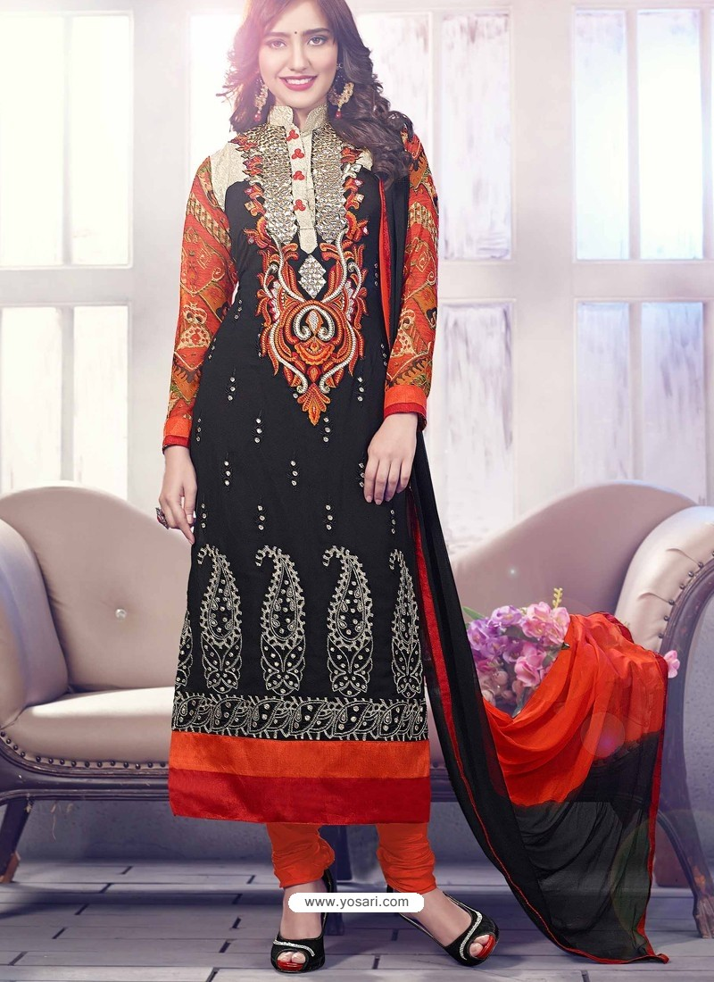 Black And Orange Georgette Churidar Suit