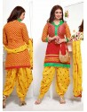 Ayesha Takia Red and Yellow Cotton Punjabi Patiala Suit