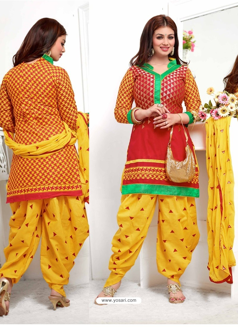 af50c49afc Ayesha Takia Red and Yellow Cotton Punjabi Patiala Suit