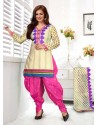 Ayesha Takia Cream And Pink Cotton Punjabi Patiala Suit