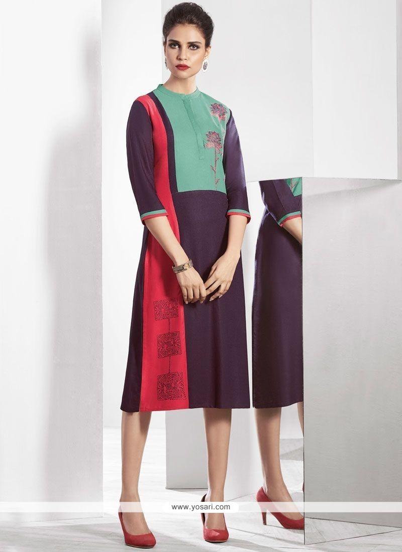 cf09b13fa Buy Print Work Multi Colour Fancy Fabric Party Wear Kurti
