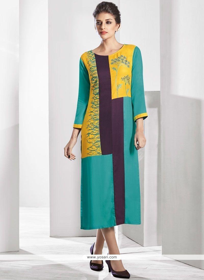 7013c1e88 Buy Multi Colour Print Work Fancy Fabric Party Wear Kurti