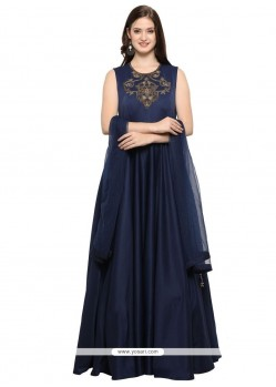 Hand Work Fancy Fabric Readymade Gown In Navy Blue