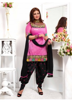 Ayesha Takia Pink And Black Cotton Punjabi Patiala Suit