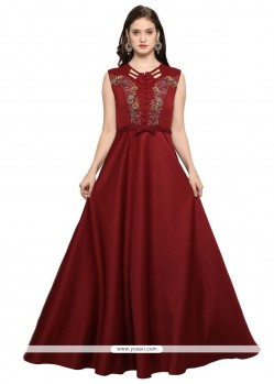 Maroon Fancy Fabric Hand Work Work Readymade Gown