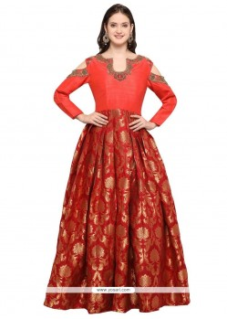 Maroon Hand Work Work Readymade Gown