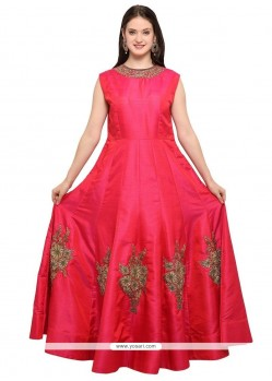 Hot Pink Hand Work Work Readymade Gown