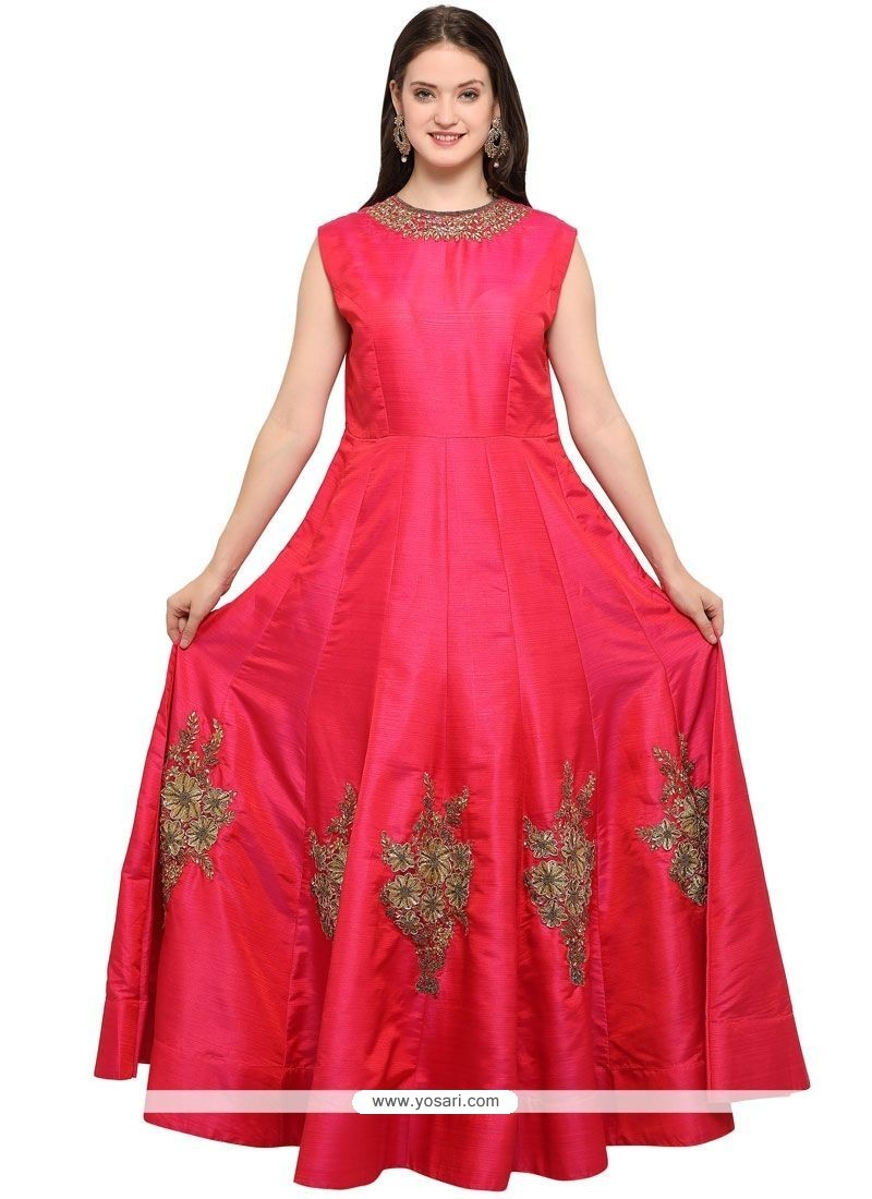 Buy Hot Pink Hand Work Work Readymade Gown | Gowns