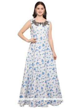 Multi Colour Fancy Fabric Readymade Gown