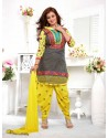 Ayesha Takia Yellow And Grey Cotton Punjabi Patiala Suit