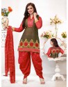 Ayesha Takia Red Cotton Punjabi Patiala Suit