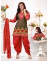 Ayesha Takia Red Cotton Punjabi Patiala Suit