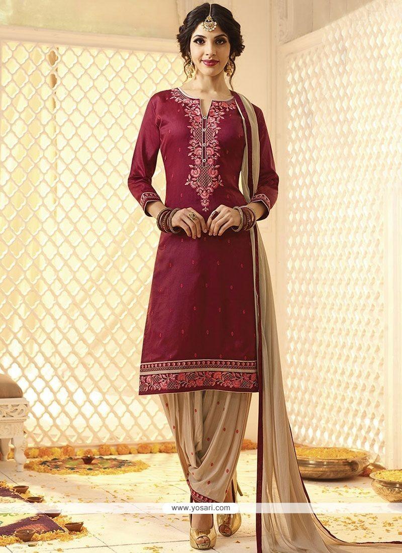 d8eb628adf Buy Cotton Satin Hot Pink Punjabi Suit   Punjabi Patiala Suits