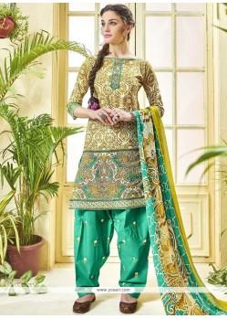 Print Work Multi Colour Cotton Punjabi Suit