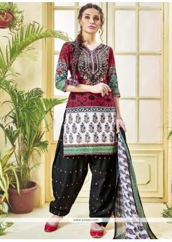 Print Work Cotton Multi Colour Punjabi Suit