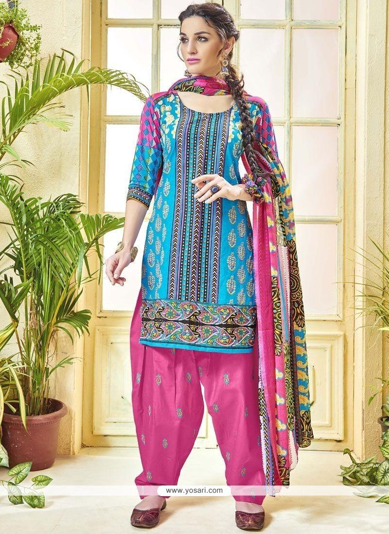 Buy Print Work Cotton Punjabi Suit | Punjabi Patiala Suits