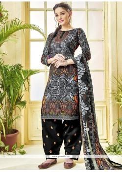 Print Work Black Cotton Punjabi Suit