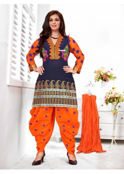 Ayesha Takia Navy Blue And Orange Cotton Punjabi Patiala Suit