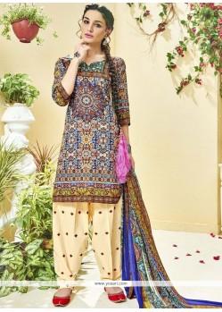 Blue Print Work Cotton Punjabi Suit