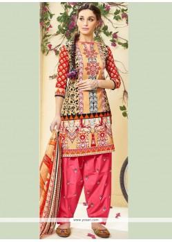 Print Cotton Punjabi Suit In Rose Pink