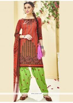 Print Work Orange Punjabi Suit