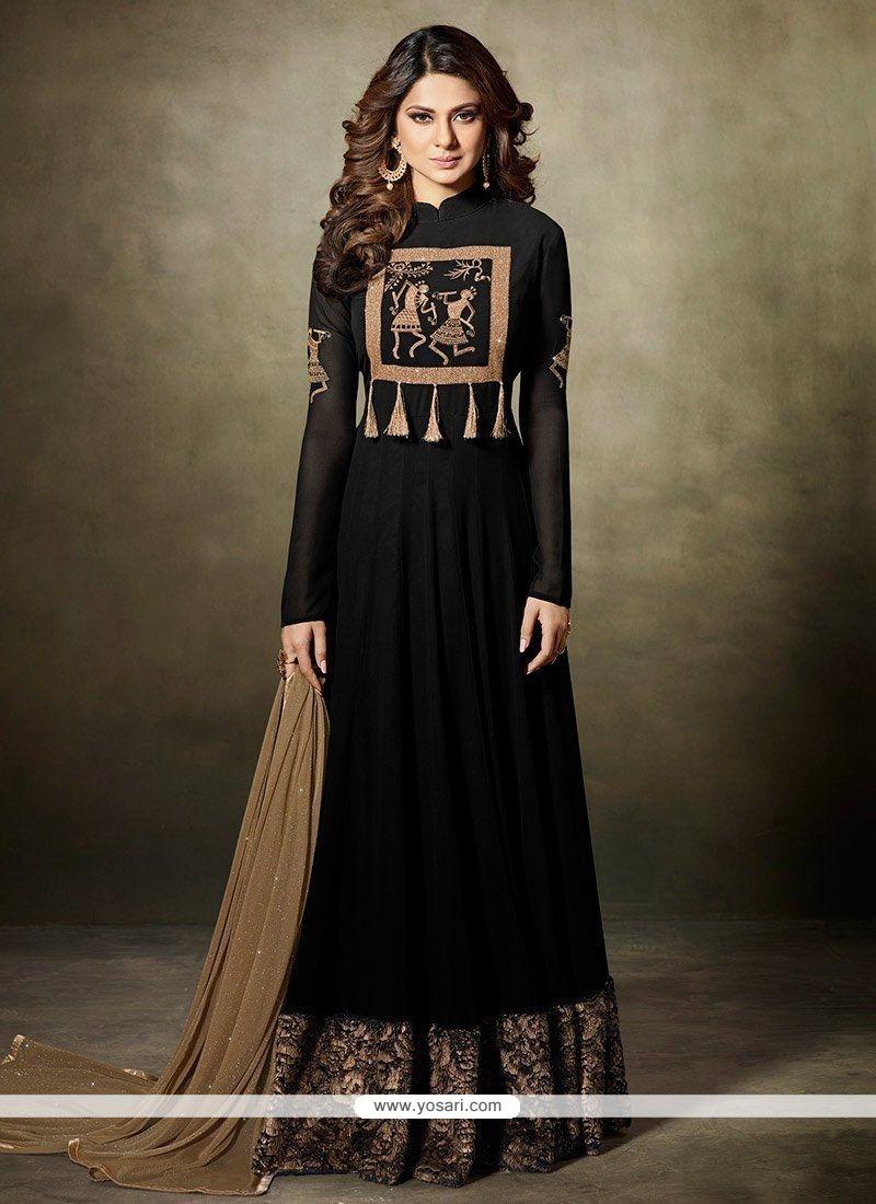 cb054dee74 Buy Jennifer Winget Black Faux Georgette Floor Length Anarkali Suit ...