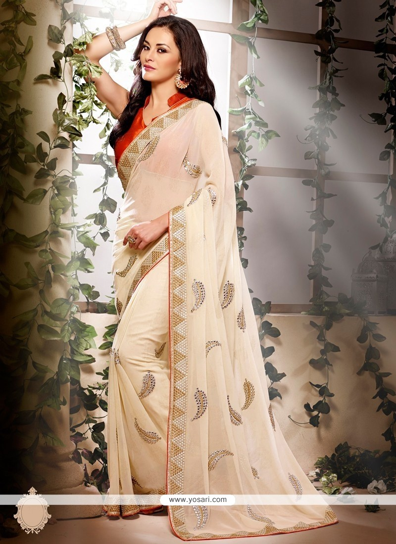 Off White Colour Georgette Designer Saree