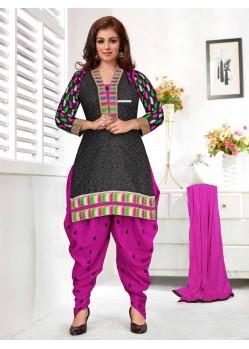 Ayesha Takia Magenta and Black Cotton Punjabi Patiala Suit