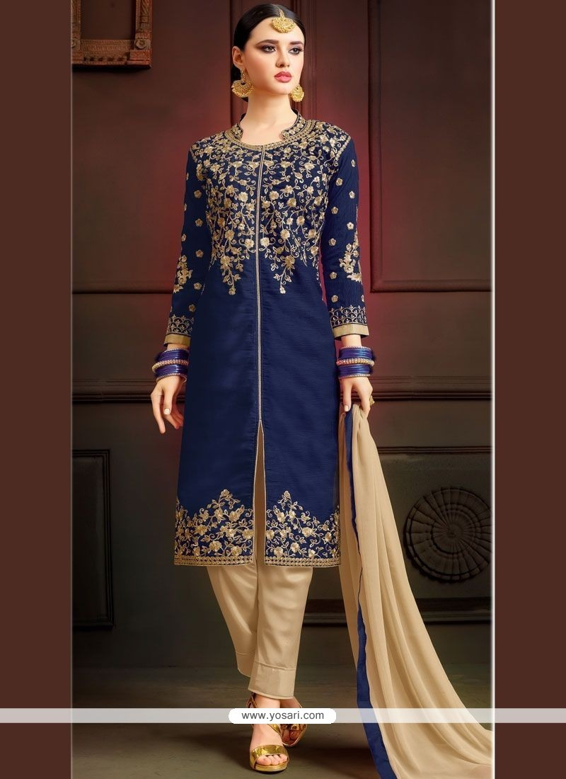 491bf08c24 Buy Navy Blue Art Silk Pant Style Suit | Designer Salwar Suits